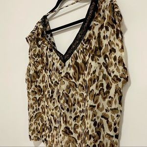 Costa Blanca Cheetah Top with beaded Detail